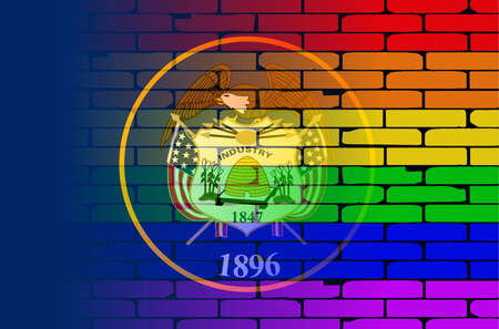 transsexual: A well worn wall painted with a LGBT rainbow with the Utah state flag Illustration