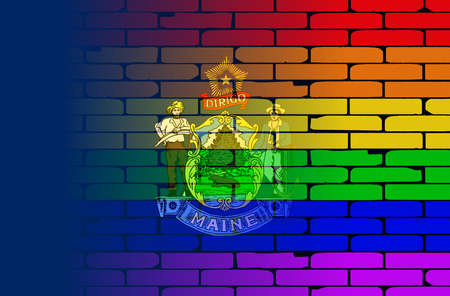 transsexual: A well worn wall painted with a LGBT rainbow with the Maine state flag