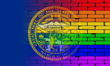 nebraska: A well worn wall painted with a LGBT rainbow with the Nebraska state flag Illustration