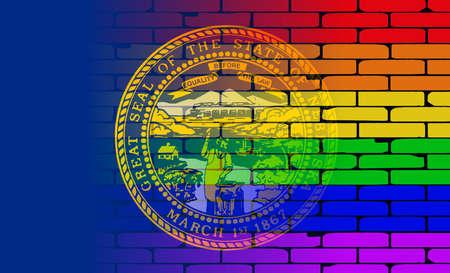 transexual: Una pared pintada bien nacido con un arco iris de LGBT con la bandera del estado de Nebraska Vectores