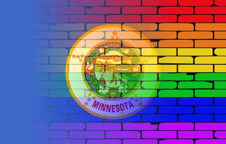 transexual: Una pared pintada bien nacido con un arco iris de LGBT con la bandera del estado de Minnesota Vectores