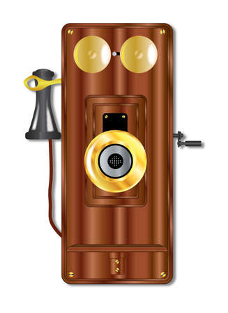 wall mounted: An early model wall mounted telephone with bells ear and mouthpiece