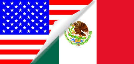 La bandera 'barras y estrellas' con un enrollamiento esquina que muestra la bandera mexicana a continuación