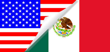 The Stars and Stripes flag with a curl corner showing the Mexican flag below Illustration