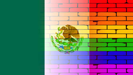drapeau mexicain: A well worn wall painted with a LGBT rainbow with the Mexican flag