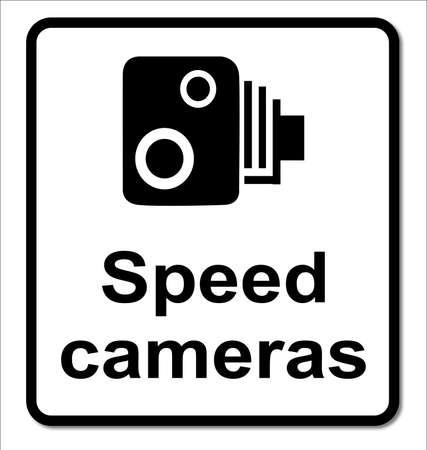 白い背景の上の伝統的なスピード違反カメラ記号