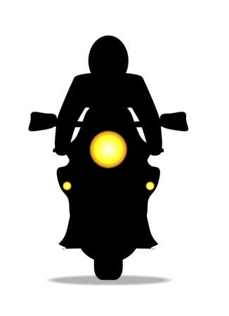 headlights: A oder motorcycle and rider in front silhouette over a white background