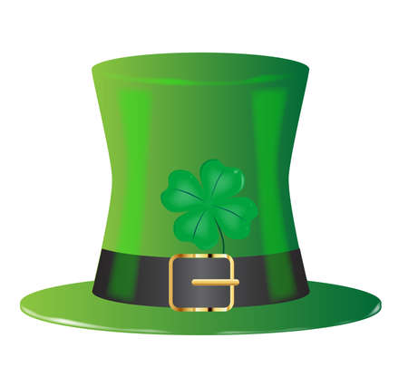 eire: A lucky Irish leprechaun green top hat with four leaf shamrock isolated on white Illustration