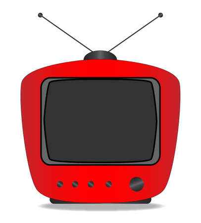 the period: An old tube style period television set over a white background