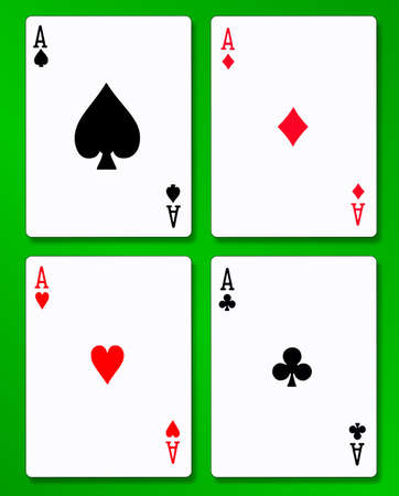 aces: The four aces in a pack of playing cards