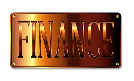 plaque: la placa departamento financiero sobre un fondo blanco