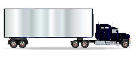 trucker: The front end of a large lorry over a white background