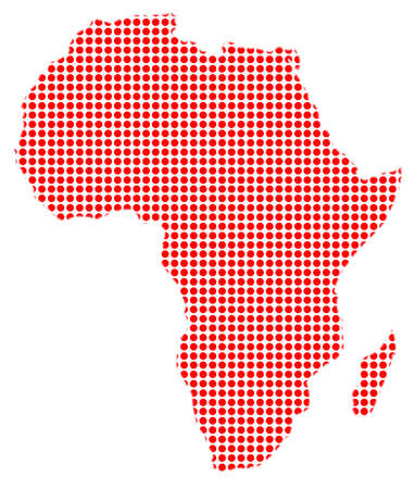 drilled: A red dot map of Africa over a white bavkground Illustration