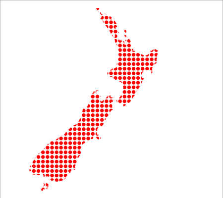 perforation: A map of New Zeakand created from a series of red dots over a white background Illustration