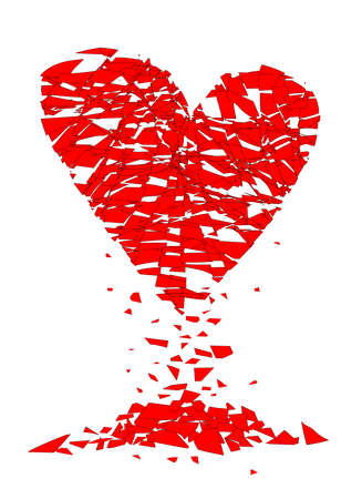 A shattered lovers heart over a white background Illustration