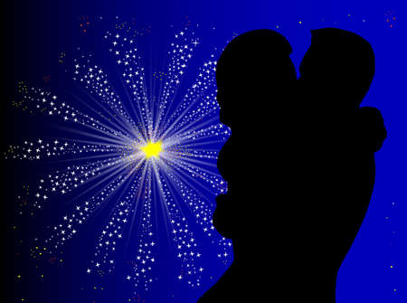 romantic sky: A couple kissing against a celebration firework