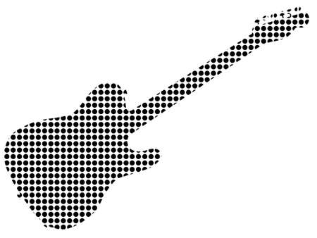 The silhouette of a typical country and western guitar in black dots