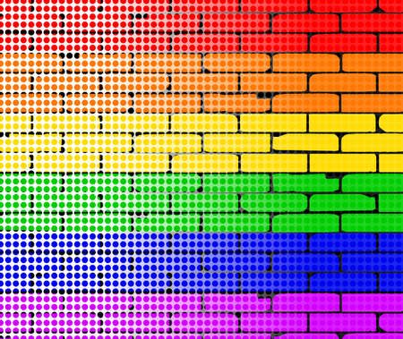 transexual: Una pared del arco iris sobrepuesto con una matriz dor desvanecido