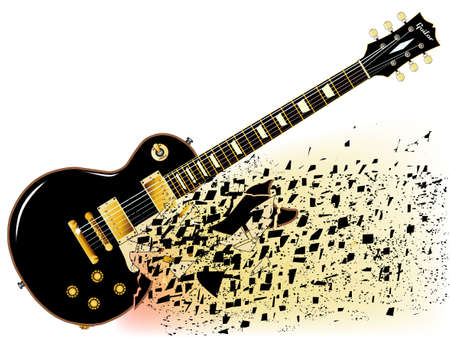 A shattering definitive rock and roll guitar in black isolated over a white background. Illustration