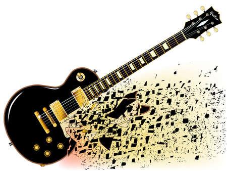Una guitarra de rock and roll definitiva rompiendo en negro aislado sobre un fondo blanco.