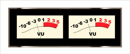 A pair of typical stereo VU meters from a trpical amalogue stereo tape recorder Ilustração
