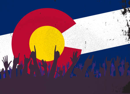 colorado flag: Audience happy reaction with Colorado State flag background Illustration
