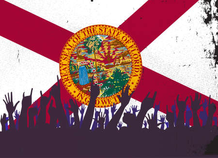 florida state: Audience happy reaction with Florida State flag background