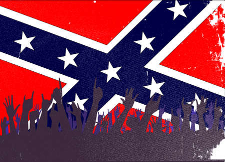 reaction: Audience happy reaction with confederate flag background Illustration