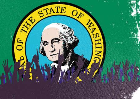 washington state: Audience happy reaction with Washington State flag background Illustration