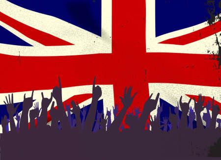 grunge union jack: Audience happy reaction with the British Union Jack Flag flag background