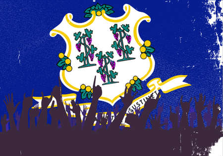 reaction: Audience happy reaction with Connecticut State flag background Illustration