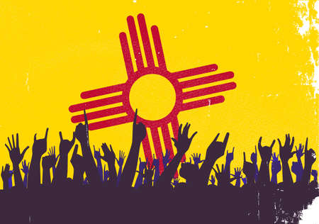 new mexico: Audience happy reaction with New Mexico State flag background