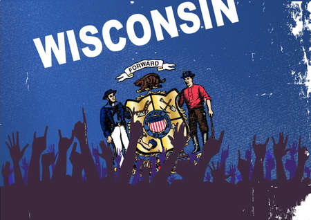 reaction: Audience happy reaction with Wisconsin State flag background
