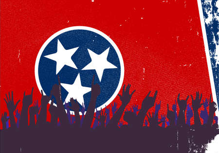reaction: Audience happy reaction with Tennessee State flag background Illustration