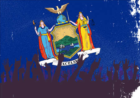 new york state: Audience happy reaction with New York State flag background
