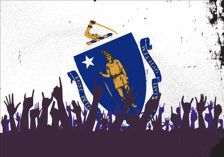 reaction: Audience happy reaction with Massachusetts  State flag background Illustration
