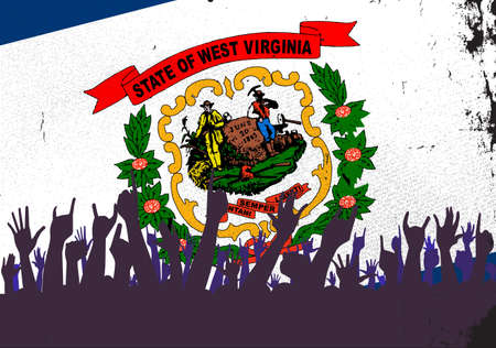 reaction: Audience happy reaction with West Virginia State flag background Illustration