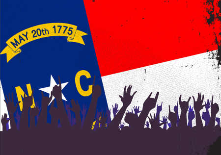reaction: Audience happy reaction with North Carolina State flag background Illustration