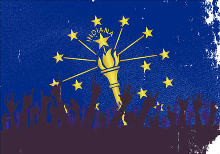 reaction: Audience happy reaction with Indiana State flag background