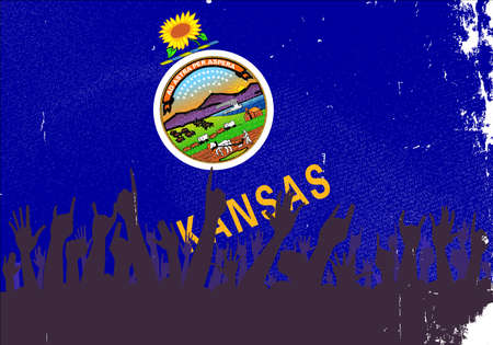 reaction: Audience happy reaction with Kansas State flag background