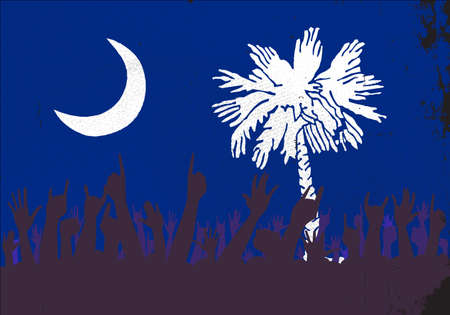 reaction: Audience happy reaction with South Carolina State flag background