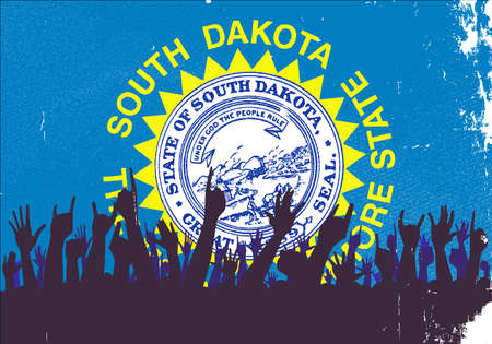 reaction: Audience happy reaction with South Dakota State flag background