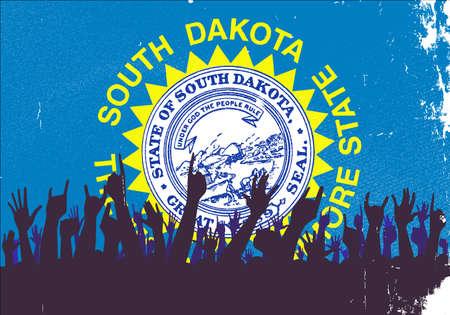 south dakota: Audience happy reaction with South Dakota State flag background
