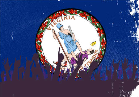 reaction: Audience happy reaction with Virginia State flag background Illustration
