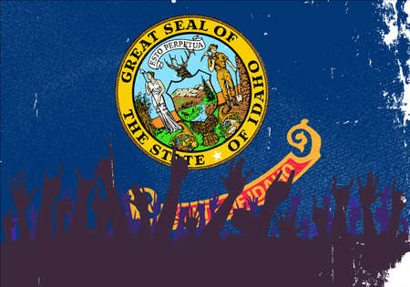 reaction: Audience happy reaction with Idaho State flag background Illustration