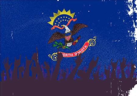 north dakota: Audience happy reaction with North Dakota State flag background