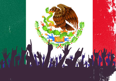 pleased: Audience happy reaction with the Mexican flag background Illustration