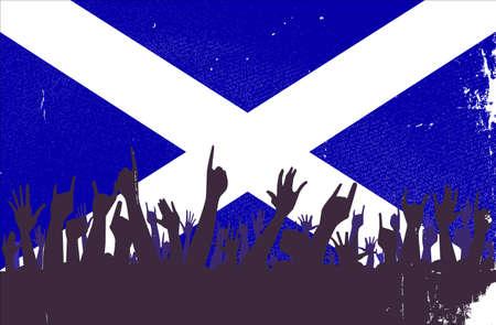 scottish flag: Pubblico reazione felice con la bandiera sfondo scozzese Vettoriali