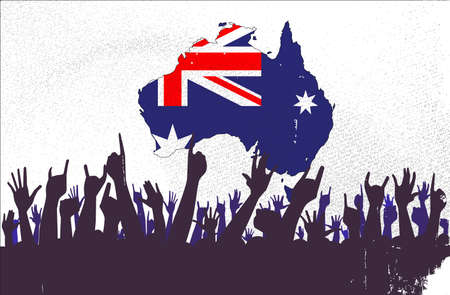 reaction: Audience happy reaction with the Australian map and flag background