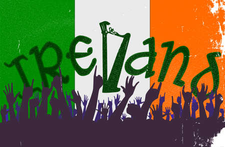 eire: Audience happy reaction with the Irish flag background